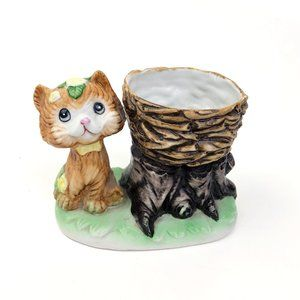 Vintage Ceramic Cat with basket Figurine